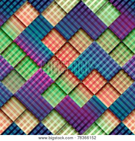 Abstract geometric pattern with diagonal plaid.