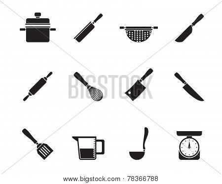 Silhouette Cooking equipment and tools icons