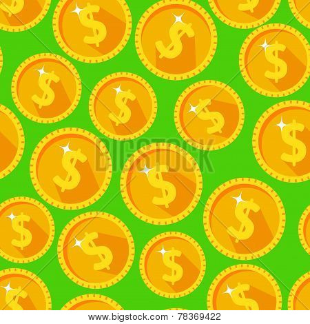 Seamless texture with golden coins