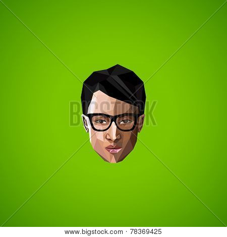 illustration of an asian guy face with glasses in polygonal style. beauty or fashion icon
