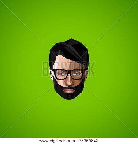 illustration with caucasian man face in polygonal style. beauty or fashion icon