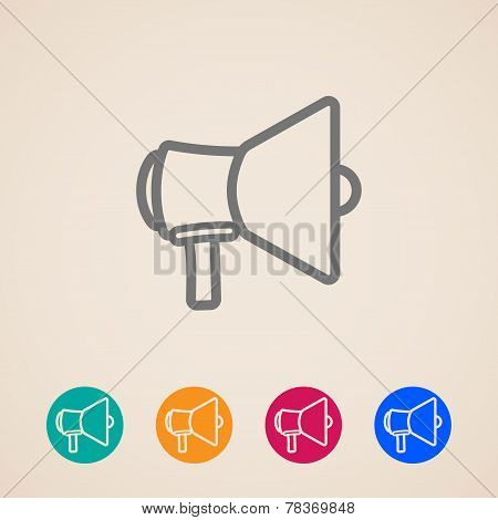 vector icon set with a megaphone or loudspeaker in flat style design