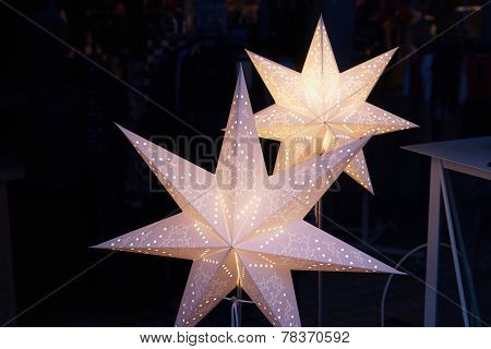 White Glittering Beautiful Star Shaped Christmas Decoration