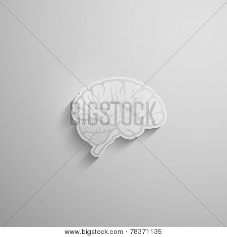 vector illustration of a paper 3d human brain with long shadow