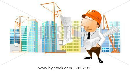 Construction foreman reading a building plan