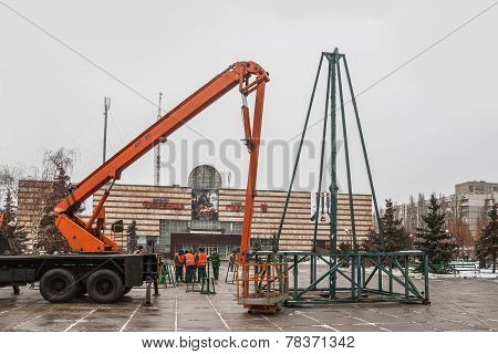 Kiev, Ukraine - December: Installing Of Christmas Trees Near The District Administrative Centers In
