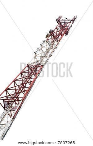 High transmitter tower isolated on white background.