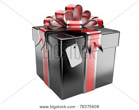 Black Gift Box With Blank Gift Tag