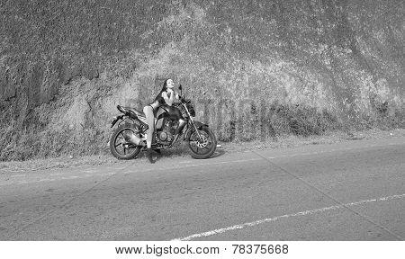Biker Theme: Beautiful Woman With Sexy Body Posing With Motorbike, Outdoors
