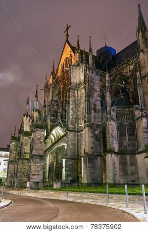Gothic church in Troyes at night,