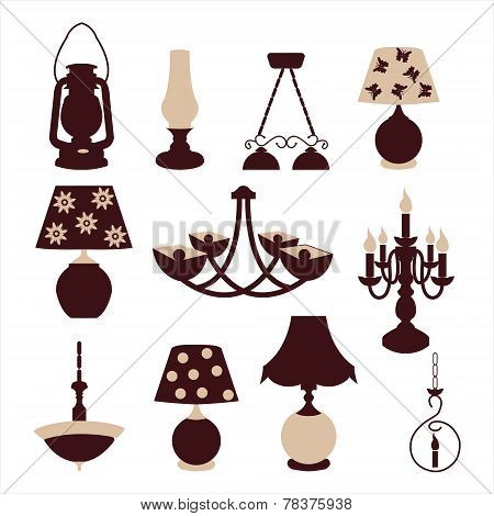 Chandelier And Lamp Silhouette - Illustration