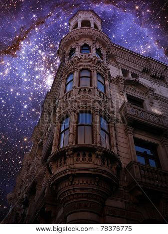 Modernist Building And Small Magellanic Cloud (elements Of This