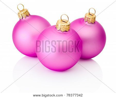 Three Pink Christmas Balls Isolated On White Background