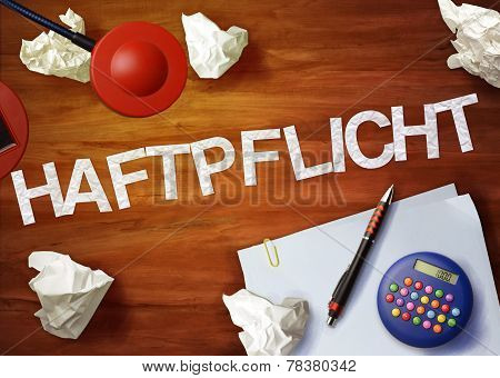 Haftpflicht Desktop Memo Calculator Office Think Organize