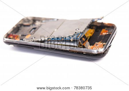 Removing The Battery Smartphone Isolated On White Background