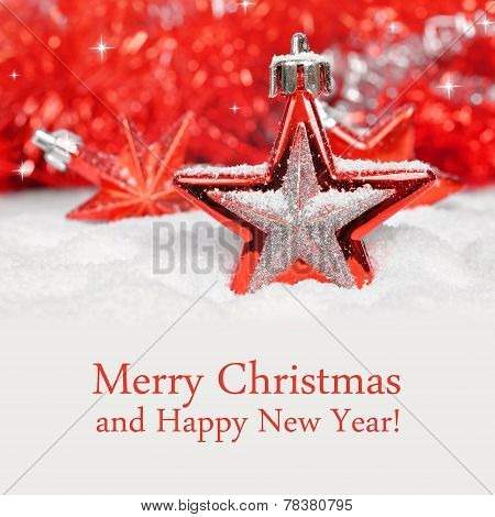 Merry Christmas card With Red Star