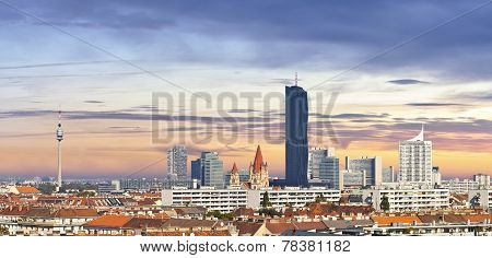 Skyline Of The Danube City - Vienna