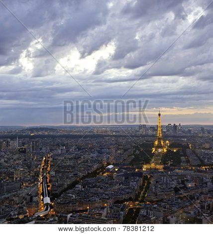 Eiffel Tower In Paris At Atmospheric Dusk