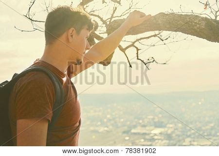 Traveler Young Man Looking At The City