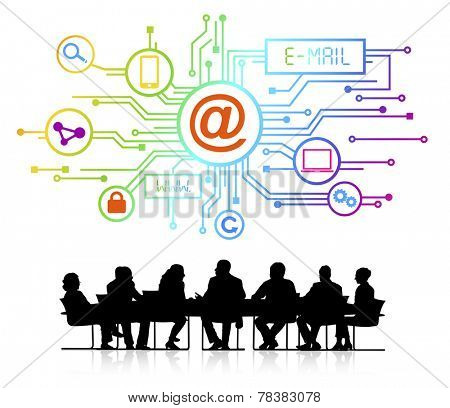Group of Business People with E-Mail Concept
