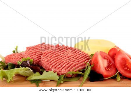 Hamburgers, Tomatoes Salad