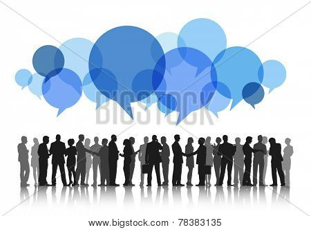 Silhouettes of Business People Working and Speech Bubbles
