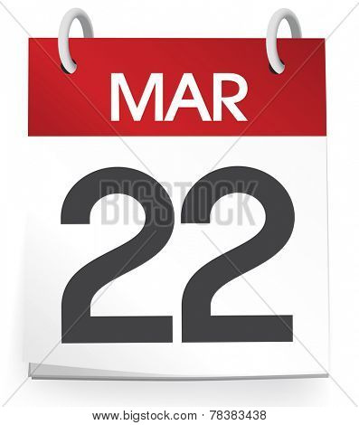 Vector of a calender of the date March 22nd.