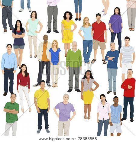 Illustration of Multiethnic People Standing Isolated on White