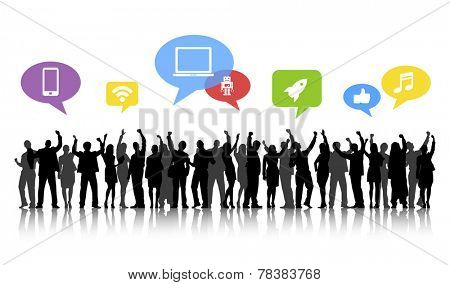 Silhouettes of Business People Arms Raised and Social Media Concepts