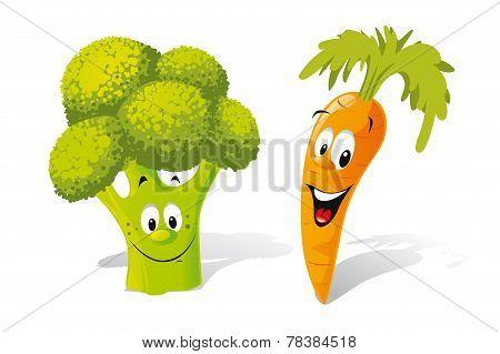 Cartoon Broccoli And Carrot