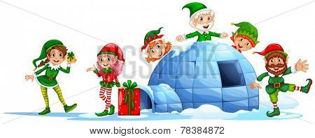 Elves playing outside the igloo on a white background