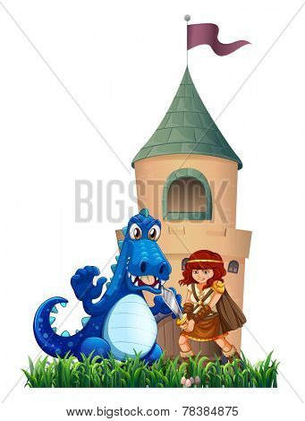 A woman and a dragon outside the castle on a white background