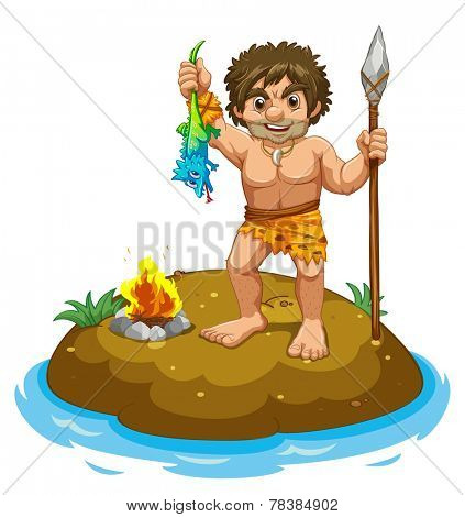 Caveman standing on a small island