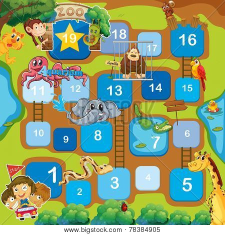 A boardgame with animals, numbers and ladders