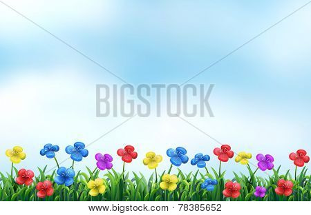 Illustration of a beautiful view of a flower field