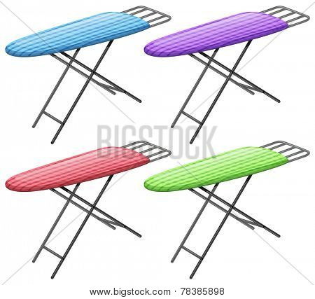 Illustration of ironing board in four different colors