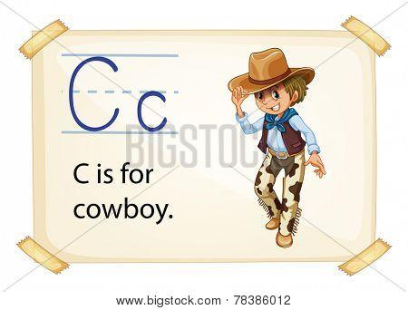 Illustration of alphabet C is for cowboy