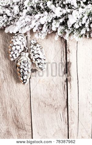 White Fir Tree Covered With Snow On Wooden Board With Cop[yspace For Greeting Text