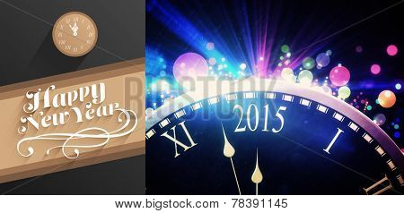 Classy new year greeting against black and colour new year graphic