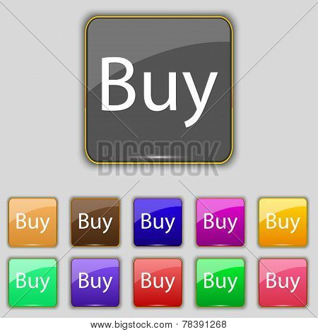 Buy Sign Icon. Online Buying Dollar Usd Button. Set Of Colored Buttons. Vector