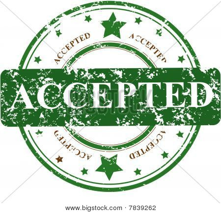 stamp with the word ACCEPTED