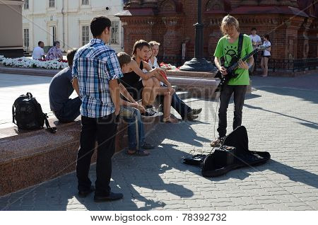 Young People On The Street Bauman In Kazan