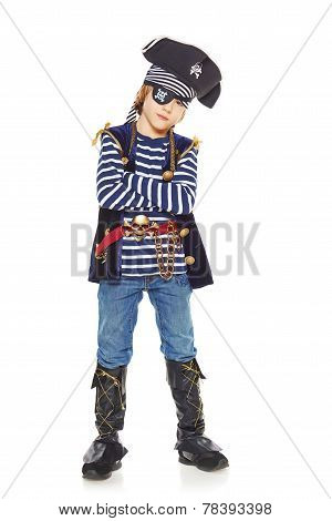 Serious little boy pirate