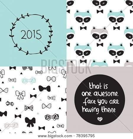 Baby blue poster set and background pattern collection raccoon woodland hipster bow and sweet quote text 2015 design