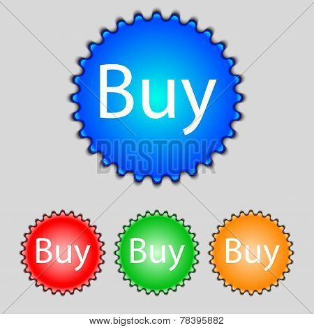 Buy Sign Icon. Set Of Colored Buttons. Vector