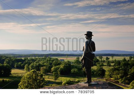 Statue Of Gen. Warren At Gettysburg, Late Afternoon