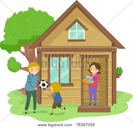 Illustration of a Family Bonding Together in the Front Yard of Their Tiny House