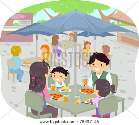 Illustration of a Family Having a Meal in an Outdoor Restaurant