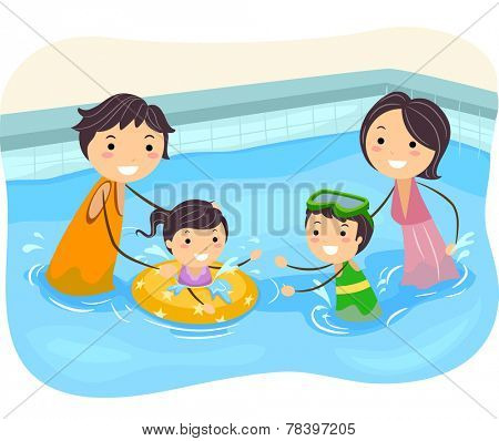 Illustration of a Family Playing in the Swimming Pool