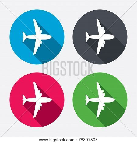 Airplane sign. Plane symbol. Travel icon.